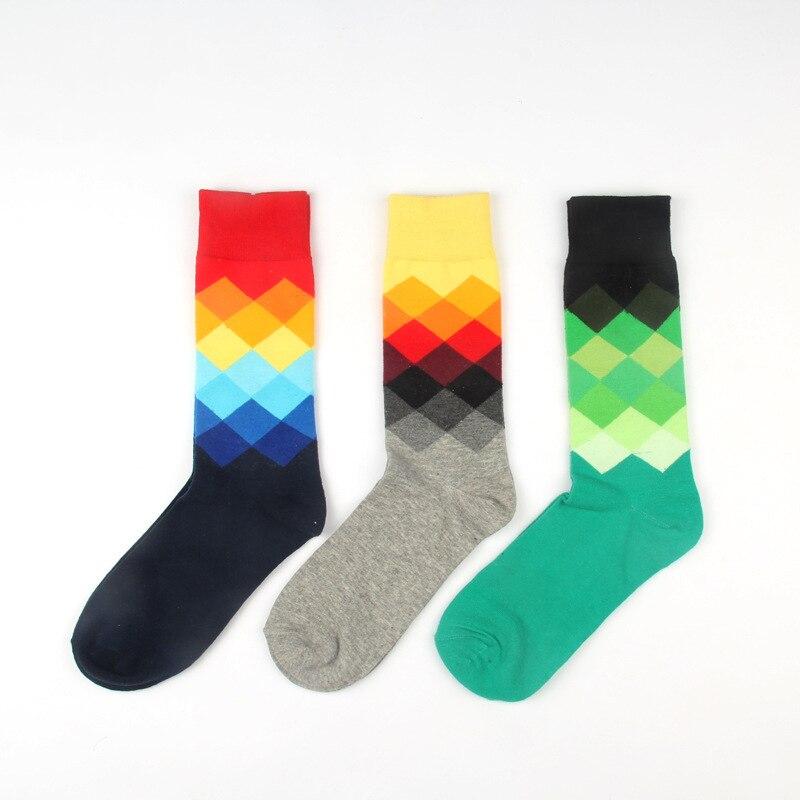 Man Socks New  1pair Men Socks Sweat-absorbent British Style Long Colorful Men's Fashion Cotton Socks Funny Crew Socks