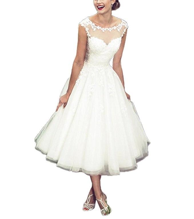 White Short Wedding Dresses For Bride O Neck Ball Gown 2019 Lace Short Princess Wedding Dresses