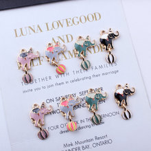 10pcs Circus Elephants Enamel Charms Alloy Dripping Oil Dangle Charm for DIY Fashion Jewelry Accessories