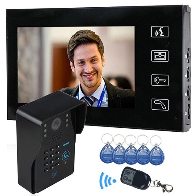 7 Inch Screen Video Door Phone Intercom System Night Vision Intercom Doorbell Code Keypad Strike Lock Switch 1 Camera 1 Monitor