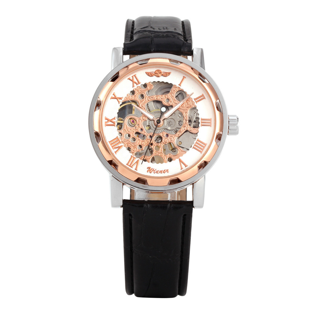 Good Watches Classic font b Men s b font Black PU Leather Dial Skeleton luxury watch