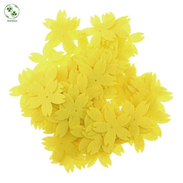 98 Stucke Reines Gelb Filz Stoff Blumen Pads Diy Kinder Haarschmuck