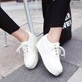 2017 Новая Платформа Женщины Холст Повседневная Обувь Зашнуровать Для Женщин Женские Туфли На Платформе Большой Размер Черный Белый