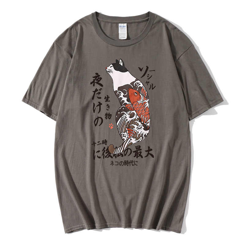 2019 Hip Hop T Shirt Men Japanese Ukiyo E Cat T-shirt Harajuku Streetwear Tshirt Casual Short Sleeve Summer Tops Tee Japan Style