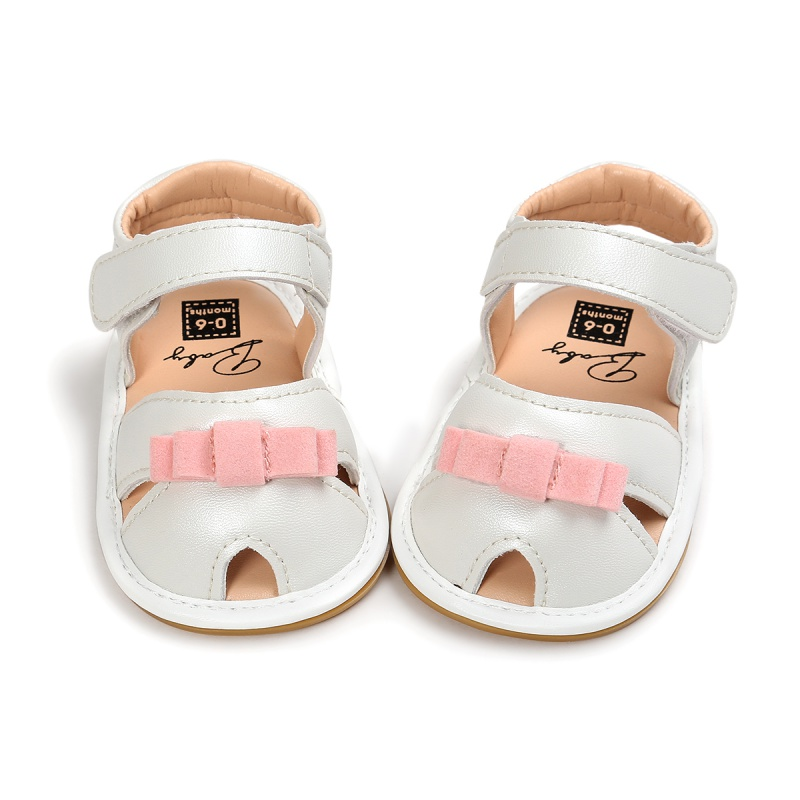 Baby Girls Bow Crib Shoes Princess Shoes Summer Newborn Infant Toddler Outdoor Soft Rubber Sandals Clogs YTUB0