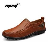 Top Quality Men Flats 100 Leather Shoes Handmade Men Moccasins Men Flat Shoes Plus Size Men