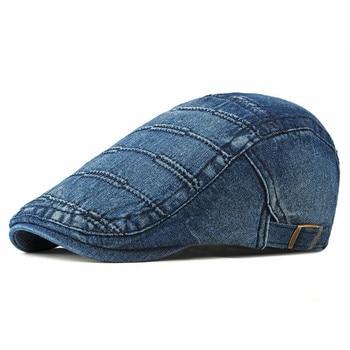 2020 Spring Summer Solid Color Newsboy Caps Men Cotton Washed denim Flat Peaked Cap Women Painter Beret Hats 31