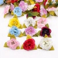 10pcs 4cm Artificial mini Silk Rose Rose Head Wedding Festival Decoration DIY Wreath Gift Box Cut & Clip Craft Fake Flower
