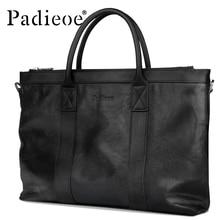 Padieoe 2017 Luxury Genuine Cow Leather Handbag Large Capacity Business Man Handbag Durable Fashion Casual Tote Bag Laptop Bag
