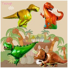 Taoup 1pc Big Inflatable Dinosaur Balloons Foil Safari Jungle Party Decors Favors Happy Birthday Animals Ballons