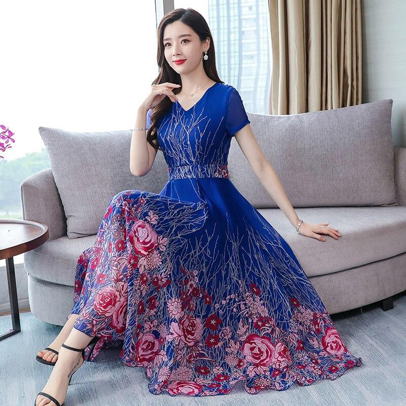 High Quality Bohemian Style 2019 Summer New Arrival V Collar Short Sleeve Flower Printed Woman Chiffon Long Dress
