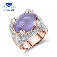 Для женщин кольца Винтаж Solid 14 К розовое золото природных Овальный 12x15 мм Природные Фиолетовый аметист кольцо 585 Золото Кольцо с бриллиантом