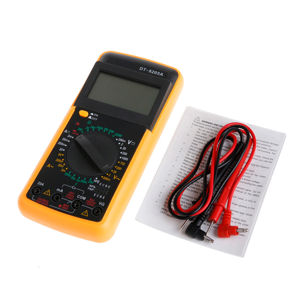OOTDTY Good Quality Digital DT-9205A Multimeter LCD AC/DC Ammeter Resistance Capacitance Tester 1A0486