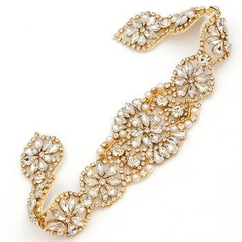 YANSTAR 10PCS Bridal Sash Hand Beaded Sewing Crystal Rhinestone Bridal Applique Iron On For Wedding Dresses Belt YS967
