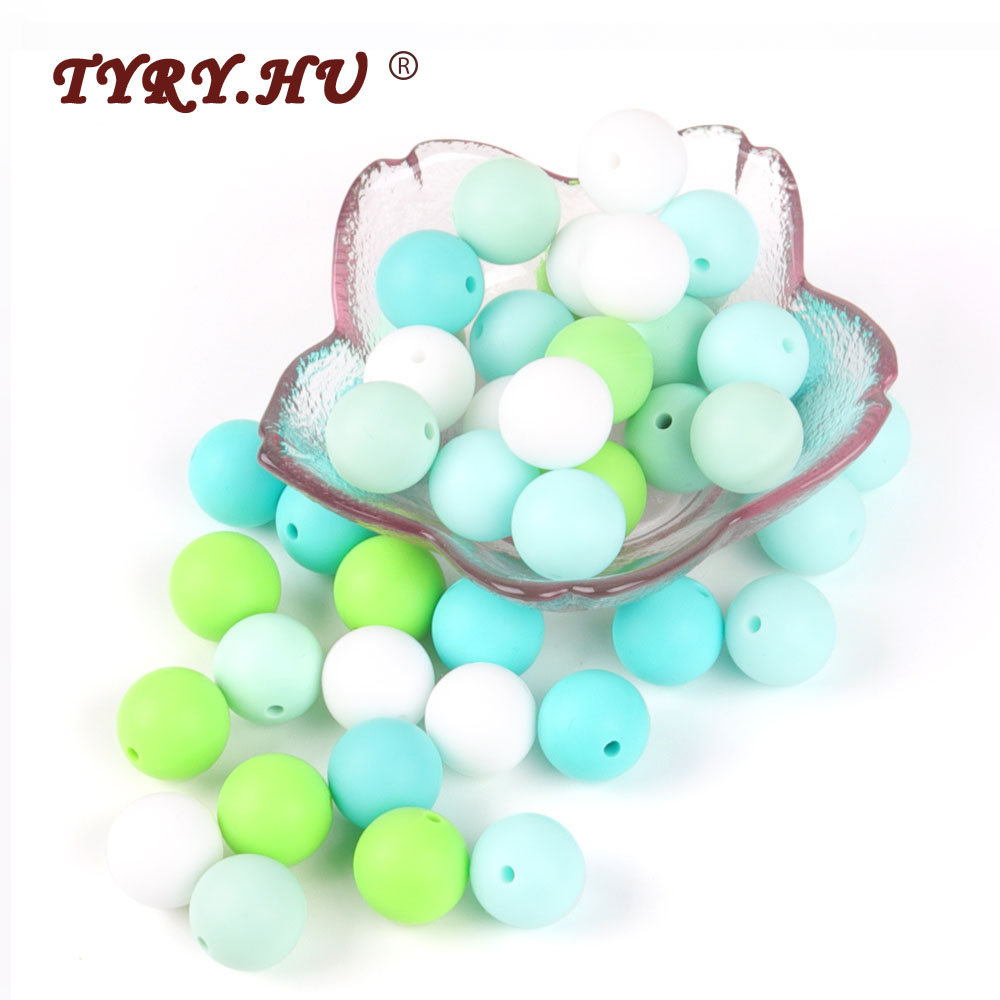 TYRY.HU 9mm Round Silicone Beads Baby Teething Pearl Teether Bead Infant Oral Care Baby Girl DIY Jewelry Bracelet Crib Toy