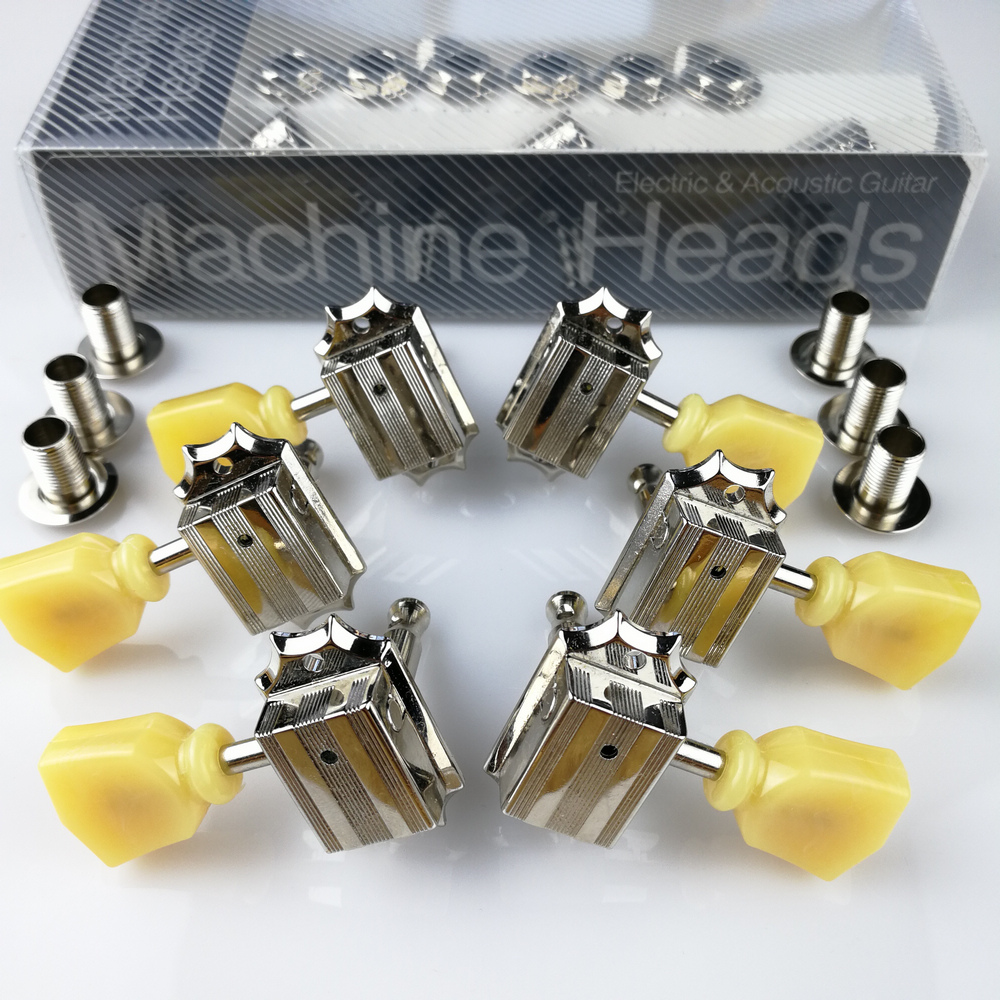 1Set 3R-3L Vintage Deluxe Guitar Machine Heads Tuners 10 Nickel Tuning Pegs ( With packaging )