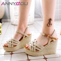 ANNYMOLI Summer Shoes Women Sandals Buckle Platform Wedges Heel Shoes Espadrille Extreme High Heel Sandals Female Plus Size 3 12