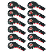 Craftsman Golf New Headcovers Iron Club Covers Set Colorful Number 11 Pcs(4-9 P A S L X)/Red 12 Pcs (3-9 P A S L L) Clip Closure