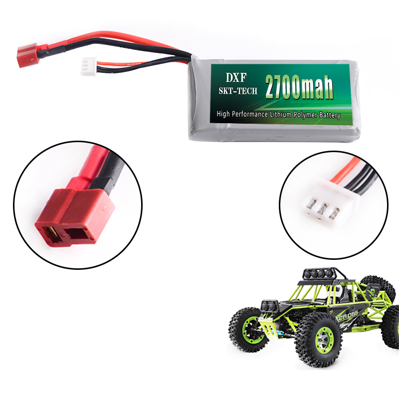 Image 3 - 2PCS DXF RC Lipo Battery 2s 7.4V 2700mAh 4200mah 20C Max 40C For Wltoys 12428 feiyue 03 JJRC Q39 upgrade parts-in Parts & Accessories from Toys & Hobbies
