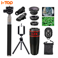 10in1 Phone Camera Lens 12x lens A broad macro objectives Fish eye Fisheye Lentes selfie stick monopod tripod for iphone xiaomi