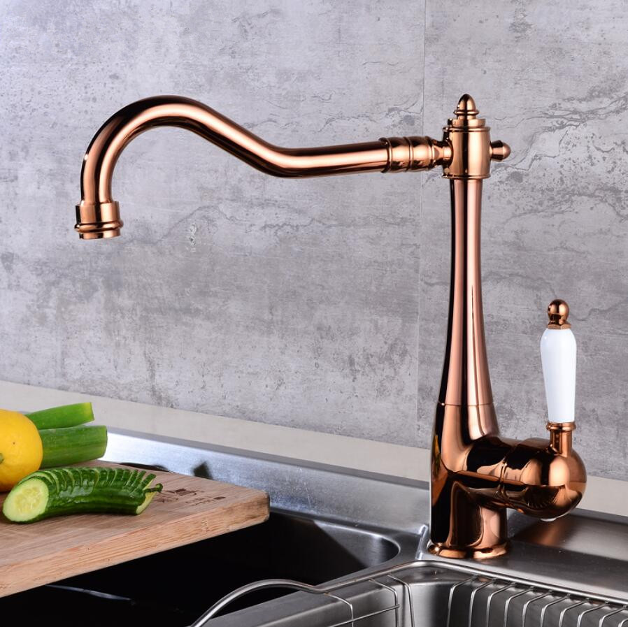 цена на Kitchen Faucet Single Holder Single Hole Kitchen Sink Faucet Swivel Spout Ceramic Handle Rose Gold Brass Mixer Water Tap 5 color