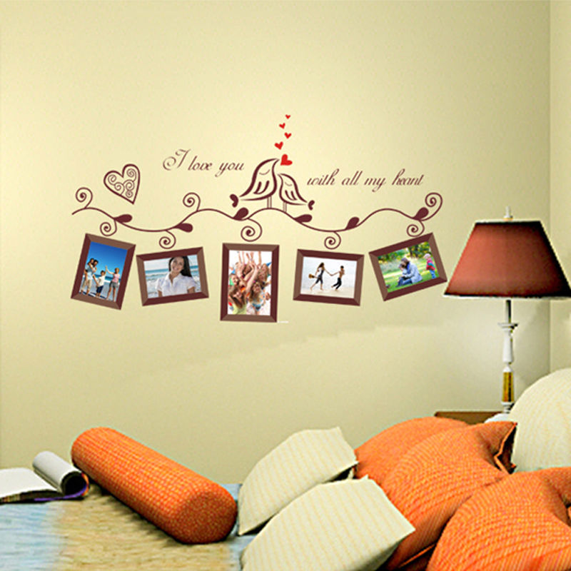 Lovely Family Tree Birds Photo Frame Quotes Wall Stickers Art Decals ...