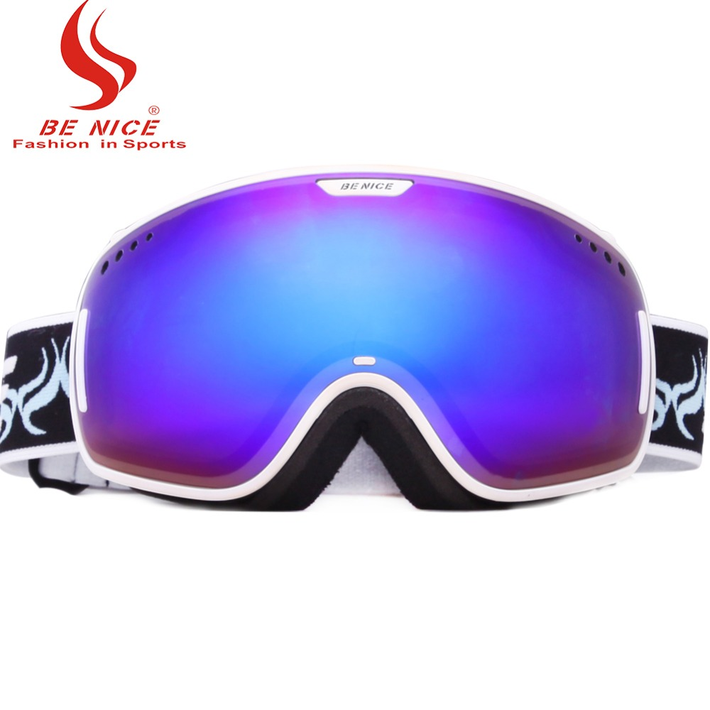 Professional Ski Goggles OTG Anti-fog Windproof UV Protection Snowboard Goggles with Double Spherical Lens for Skiing Snow Skate