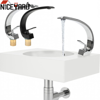 Hot Cold Water Washbasin Faucet Brass Chrome Elegant Crane Tap Bathroom Fixture Single Handle Single Hole Bathroom Faucets