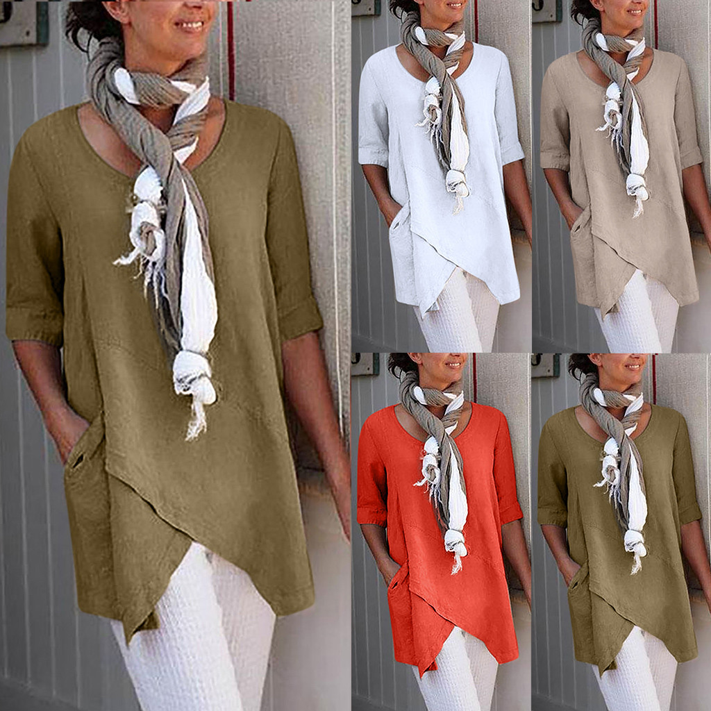 Womens Clothing Top-Pocket Modish-Tops Festival Half-Sleeve Cotton Linen Plus-Size Textured-Top-Camiseta