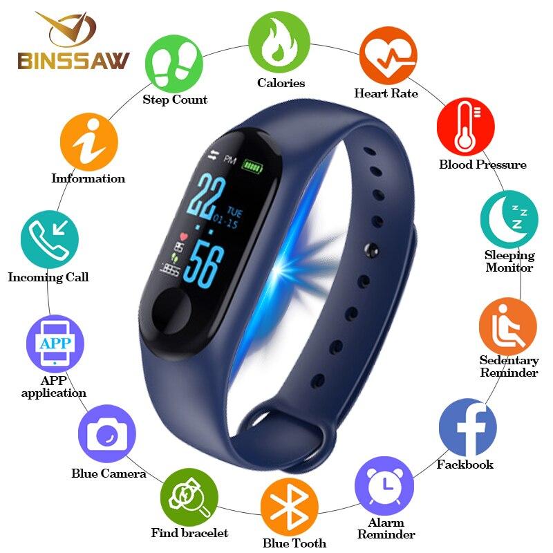 BINSSAW 2019 deporte reloj inteligente reloj de las mujeres de los hombres reloj Bluetooth cámara de presión arterial Monitor de sueño podómetro banda