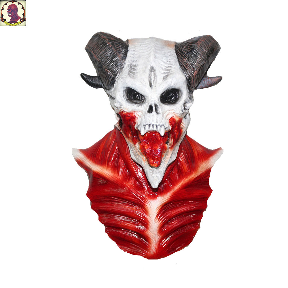 Vivid Bloody Skeleton Horror Baphomet Masks Latex For Halloween Party Decoration Props in Party Masks from Home Garden