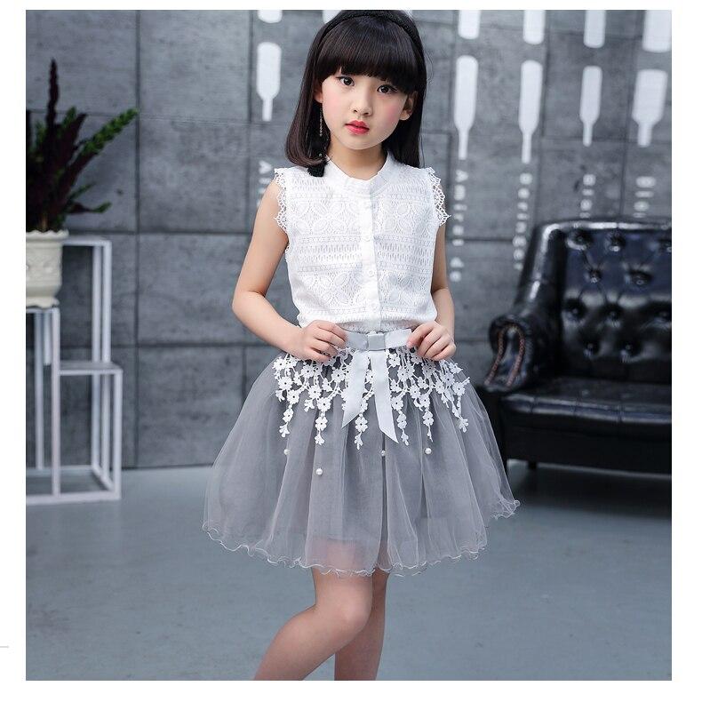 Toddler girl Summer dresses Sleeveless 2-pieces-sets Lace vest + bud silk gauze stitching skirt AliExpress Hot Sale 120 130 140 (14)