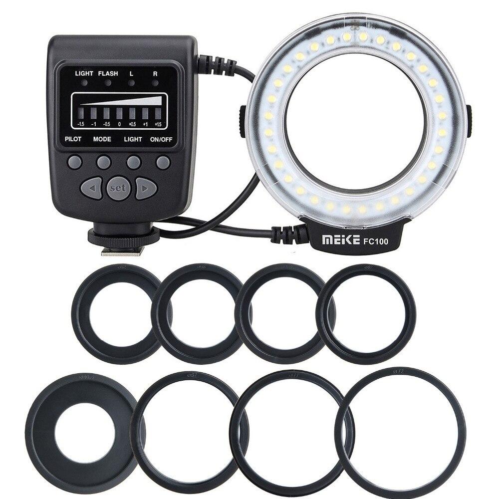 Meike Meke ES FC100 Macro Ring Flash Light Ringe Blinkt für Canon Nikon Sony Fujifilm Olympus Panasonic Digitalkameras