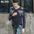 OLRIK 2016 Spring Autumn Men Sweater Casual Slim Pullovers Knitwear V-Neck Sweaters Brand clothing Mens pull homme Fashion