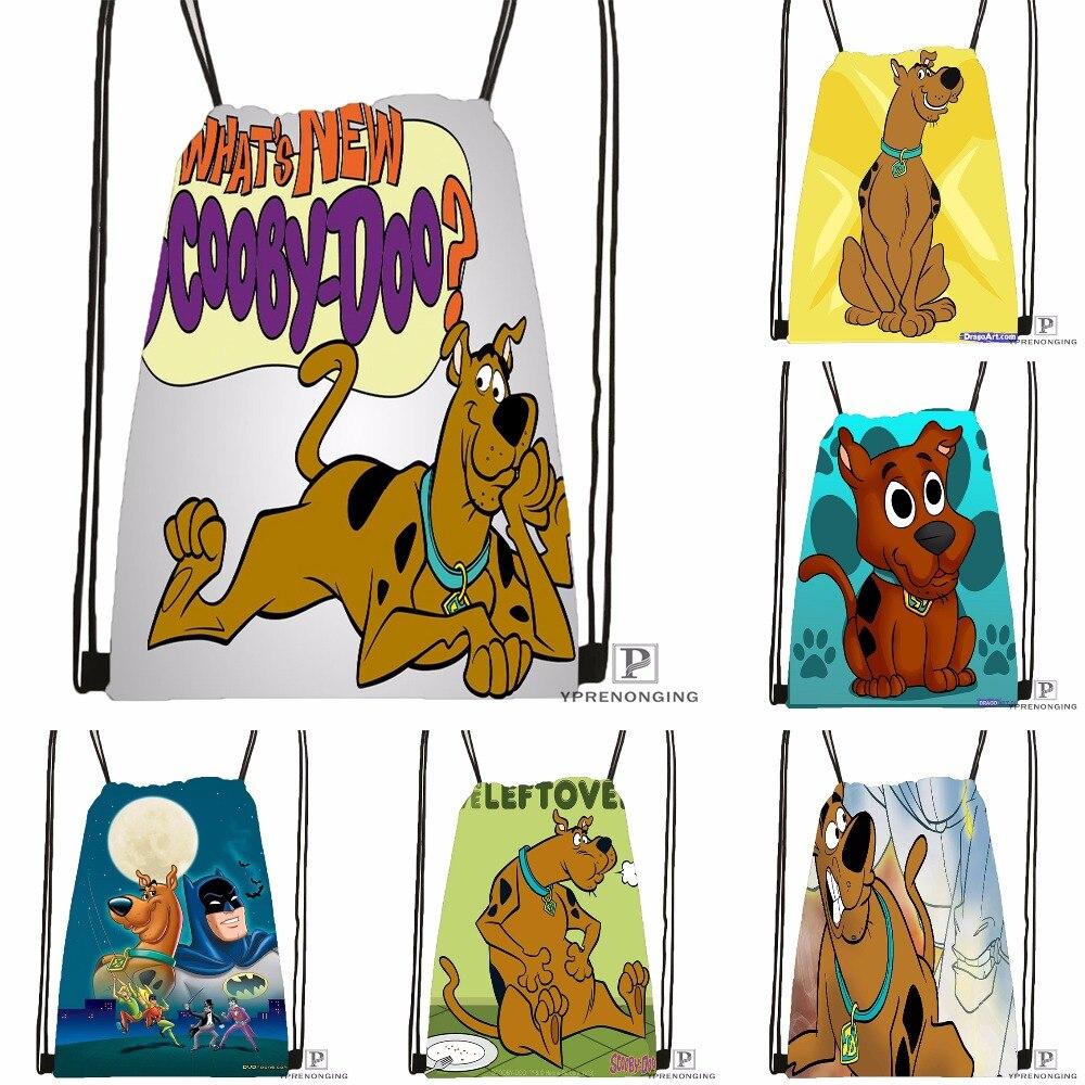 Custom Classic Scooby Doo Drawstring Backpack Bag Cute Daypack Kids Satchel (Black Back) 31x40cm#180531-02-27