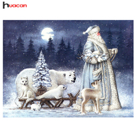HUACAN Full Square Santa Claus Patterns Diamond Painting Christmas Decoration For Home Diamond Mosaic Embroidery Portrait