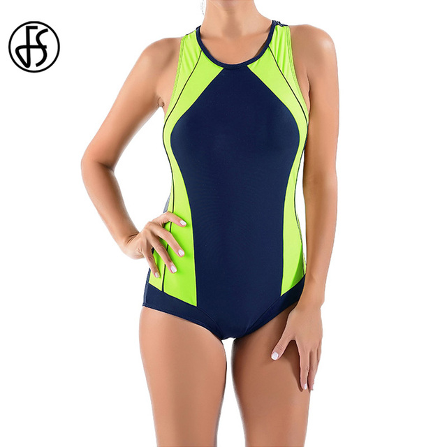 81350eb8e8 FS Two Color Patchwork Sport Tankini Swimsuit High Waist Triangle Swimwear  For Women Summer Beach Wear One Pieces Bathing Suits
