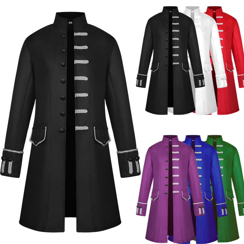 Man Medieval Gothic Costume Long Steampunk Style Stand collar Jacket Dress Daily Coat Man Outfit Halloween Carnival Disguisment