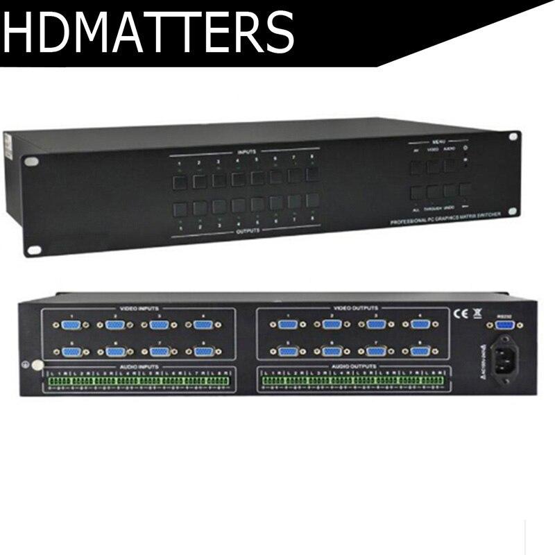 VGA Matrix 8X8 VGA commutateur séparateur vidéo et audio matrice femelle à mâle vga commutateur séparateur 8 en 8 avec RS232 et télécommande