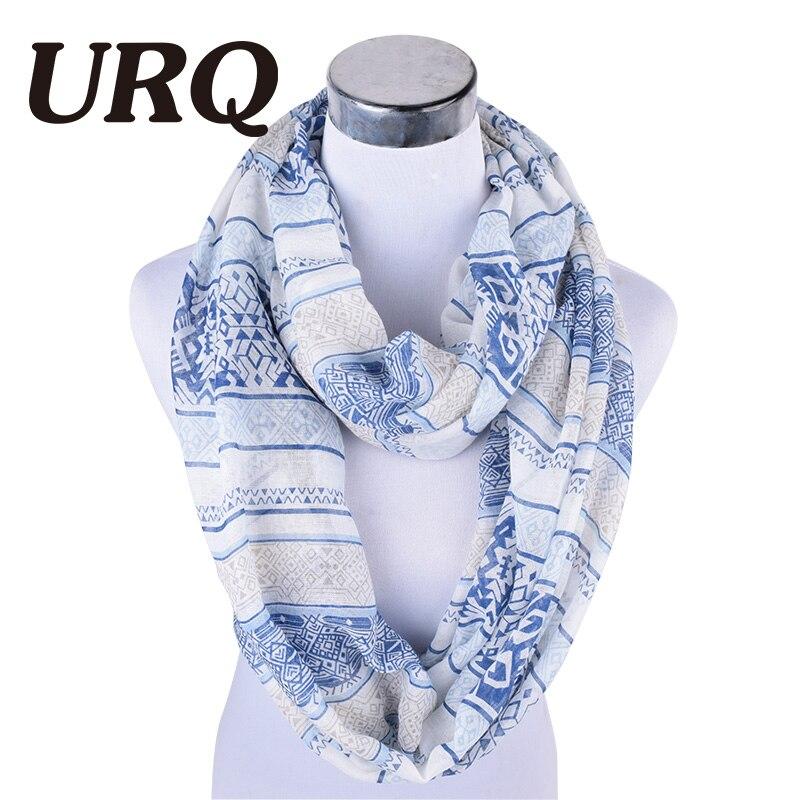 [URQ] Winter Infinity Scarves Cozy Geometric Print Viscose Scarf Lady Endless Scarfs Loop WrapsV8A18875
