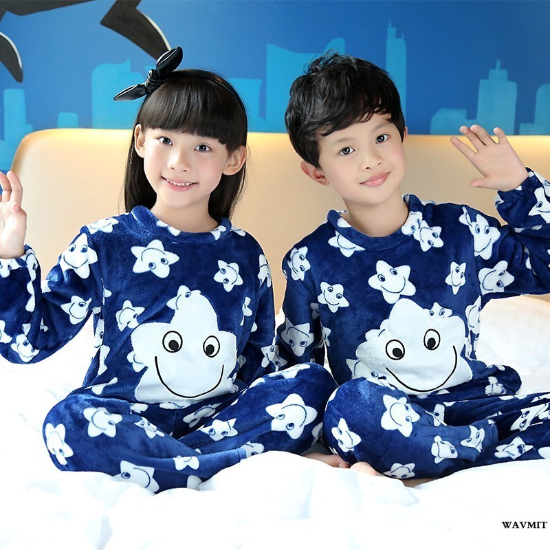 WAVMIT Spring Winter Children Fleece Pajamas Warm Flannel Sleepwear Girls Loungewear Coral Fleece Kids Pijamas Homewear Pyjama