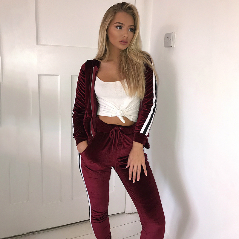 2018 Autumn and Winter Casual Sweat Suits Women Fashion Velvet Suit Two Piece Set Top and Pants Plus Size Tracksuits