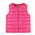 2017 New Arrival Girl's Down Cotton Vest Dots Printed Children Sleeveless Warm Vest Autumn Winter Baby Girl Outwear WJ0253
