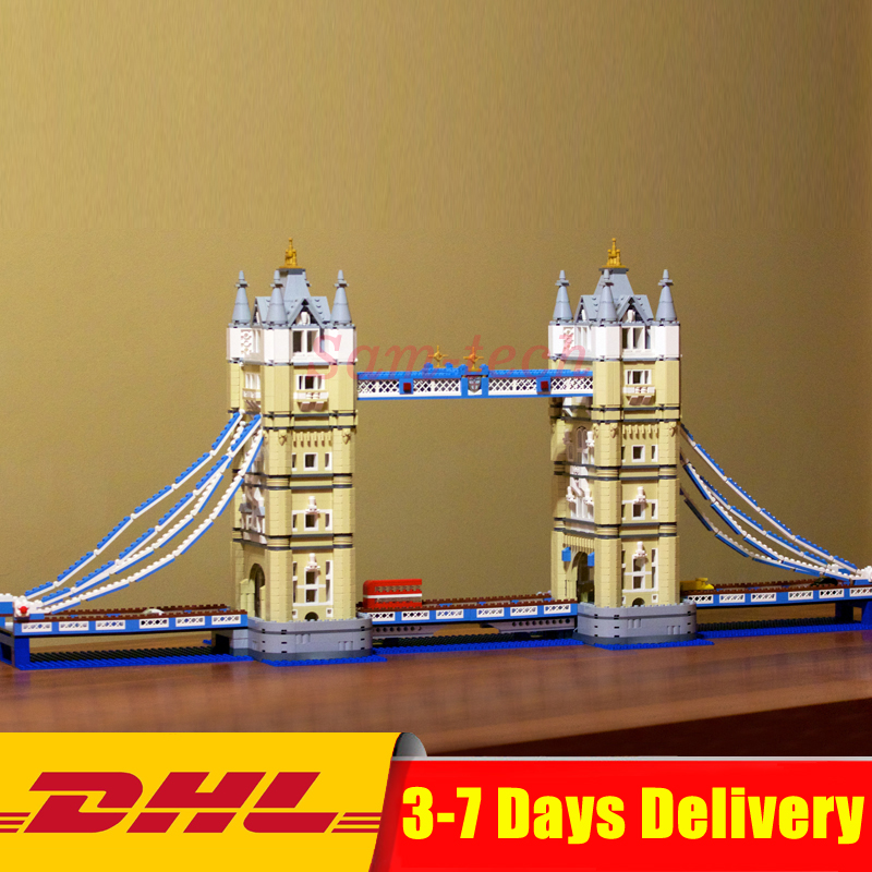 DHL Lepin 17004 4295pcs London bridge Model Building Kits Blocks Bricks DIY Toys Compatible 10214 For Children Gifts in stock new lepin 17004 city street series london bridge model building kits assembling brick toys compatible 10214