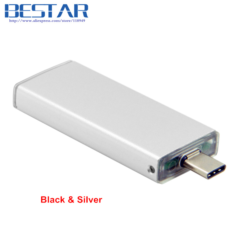 Black & Silver color 42mm NGFF M2 2 Lane SSD to USB 3.1 Type-C USB-C External PCBA Adapter Card Flash Disk Type usb3 0 round type panel mounting usb connecter silver surface