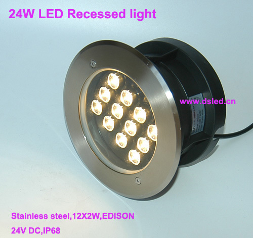 Free shipping by DHL!! Stainless steel 24W recessed LED pool light,LED underwater light,IP68,D200mm,DS-11S-09-24W,24V DC