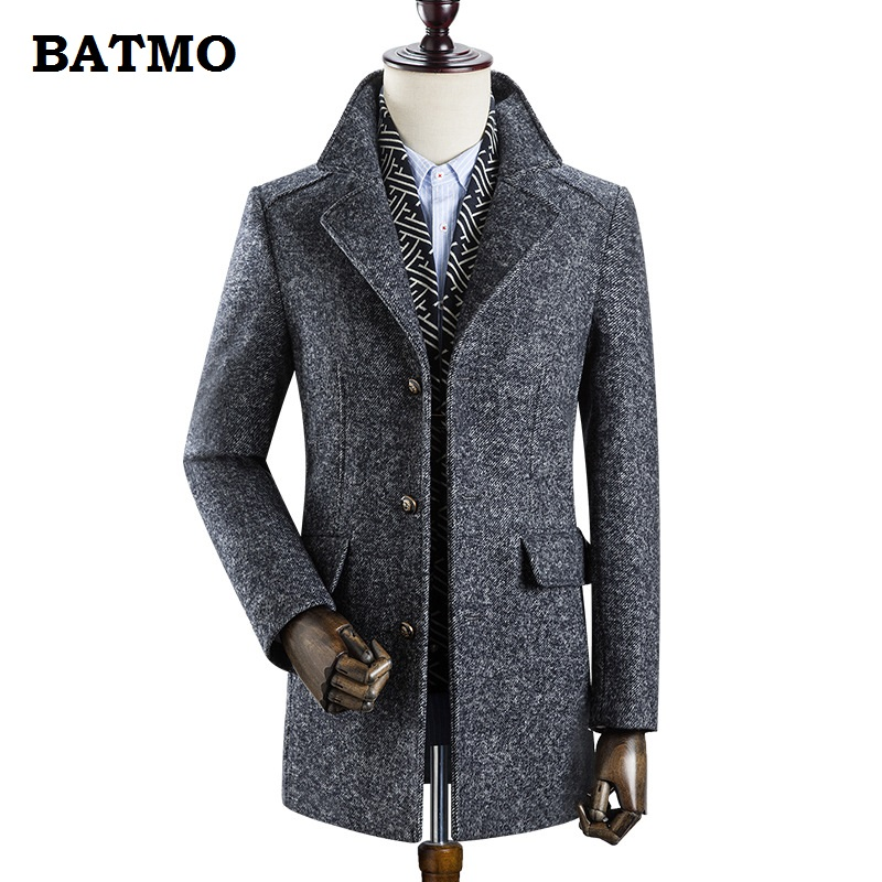 BATMO 2019 New Arrival Winter High Quality Wool Thicked Trench Coat Men,men's Gray Wool Jackets ,plus-size M-3XL,AL19