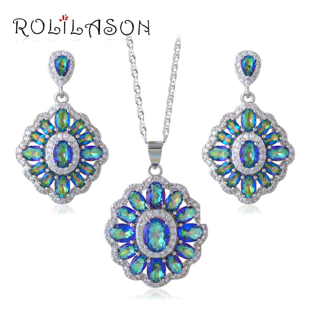 ROLILASN gifts Rainbow Mystic Zirconia Stamped Silver crystsal Necklace Earrings Jewelry Sets JS662
