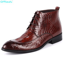 Fashion Boots Men Genuine Leather High Quality Cow Leather Men Dress Boots Shoes Crocodile Pattern Lace-up Ankle Boots yomior brand spring autumn genuine leather boots men cow leather motorcycle boots fashion dress business wedding ankle boots