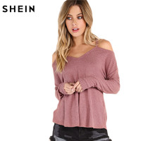 SheIn Autumn Tops For Women Plain T Shirt Women Waffle Knit Cold Shoulder Long Sleeve Womens